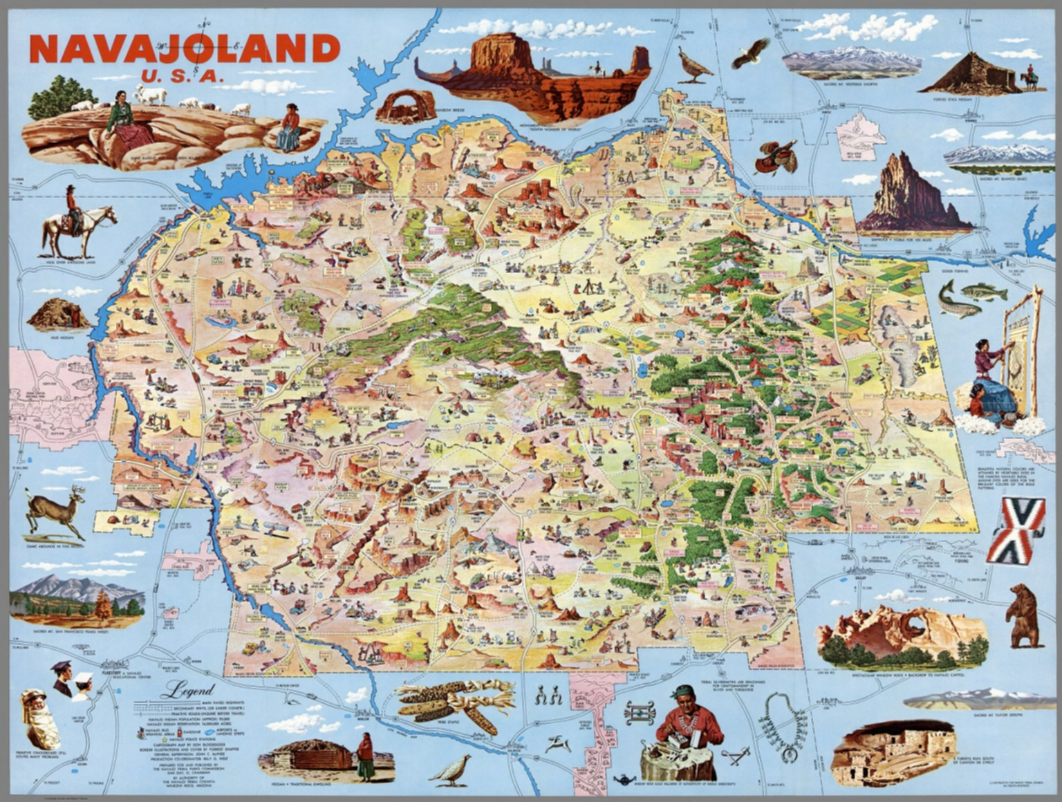 Navajoland USA Map Full Color Illustrated David Rumsey - Full usa maps