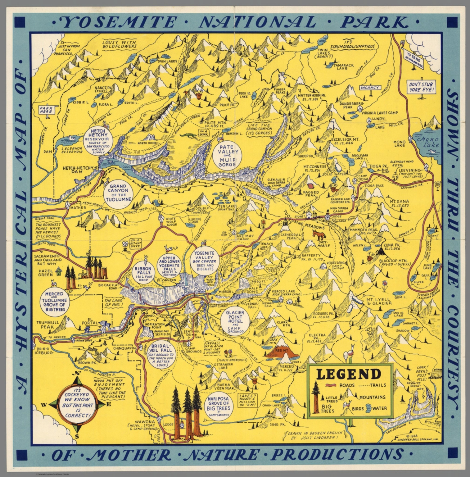 A Hysterical Map of Yosemite National Park Shown thru the Courtesy – Yosemite Tourist Map