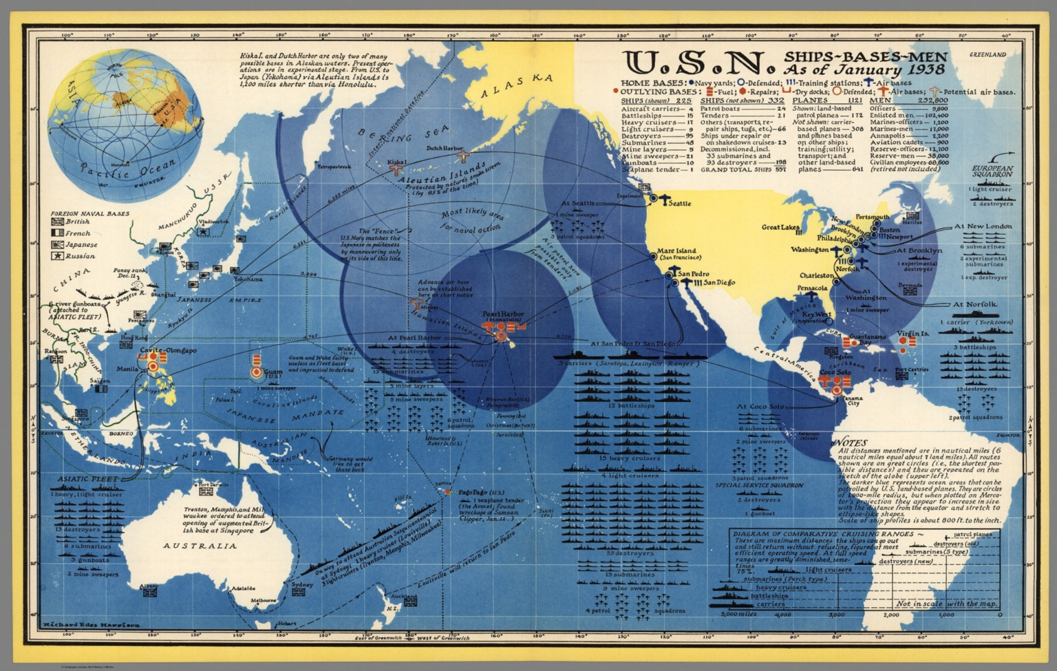 U S Navy Ships Bases Men As Of January 1938