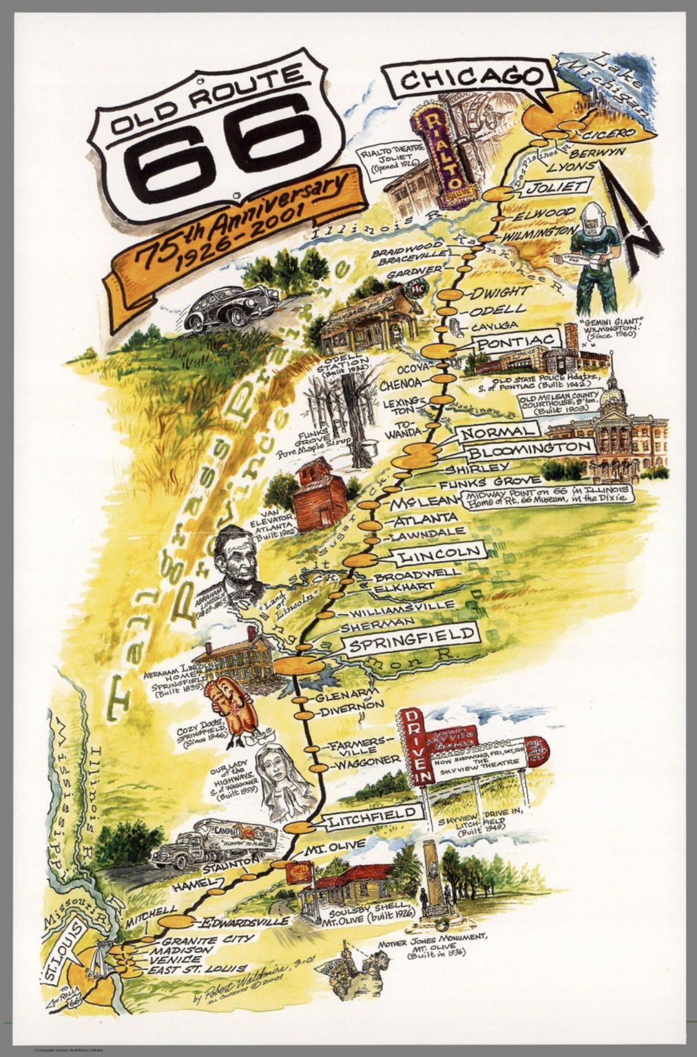 Old Route  Th Anniversary  St Louis To Chicago - Chicago map route 66