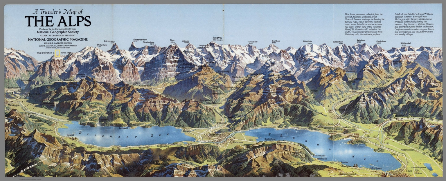 View Travelers Map Of The Alps National Geographic Society - Washington dc popout map