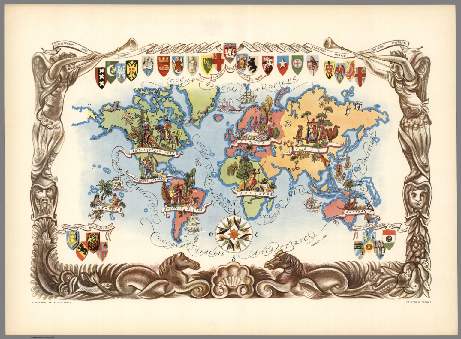 (World Pictorial Map), Jacques Liozu, 1951