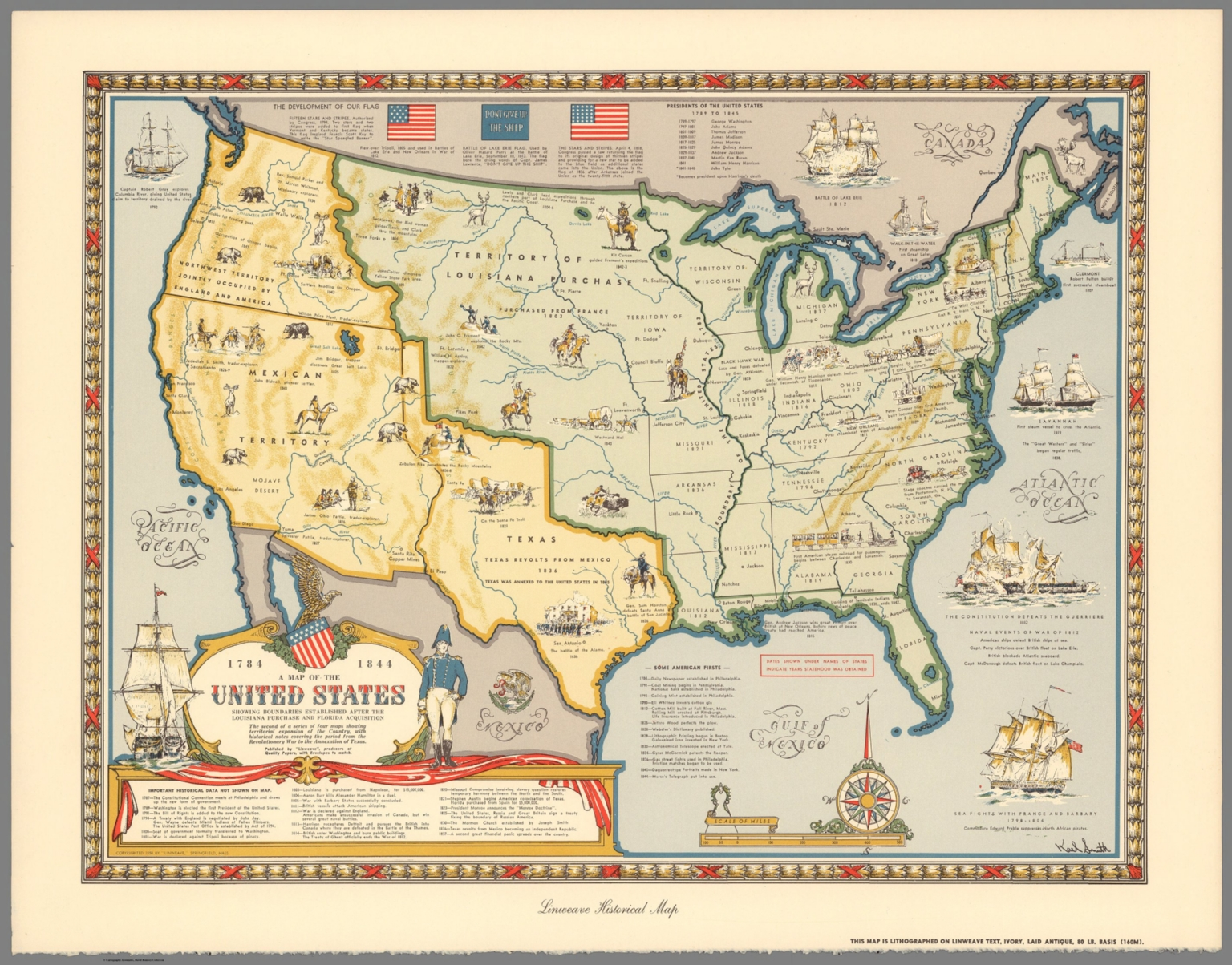 A Map Of The United States Showing Boundaries Established After - Map of america after louisiana purchase
