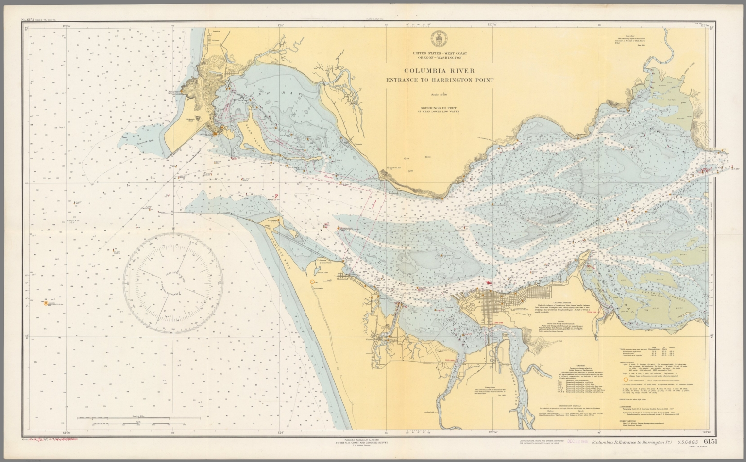 Columbia River Entrance To Harrington Point USC  GS - Map of usc columbia