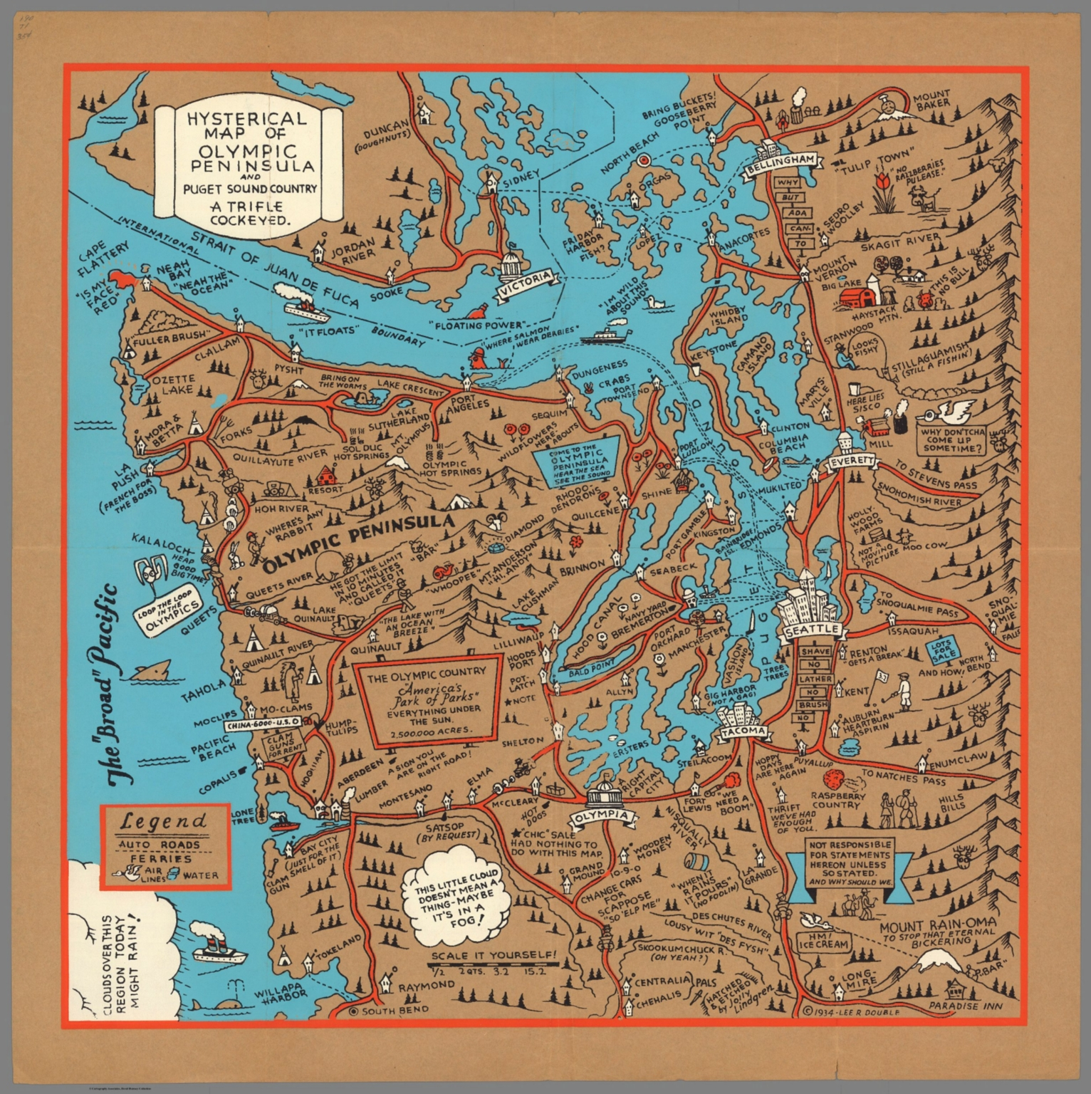 Hysterical Map Of Olympic Peninsula And Puget Sound Country A - Map washington state peninsula