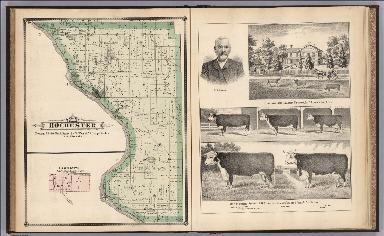 Rochester Township, Cedar County, Iowa. Lime City. View: Residence and Property of M.W.Gleason.