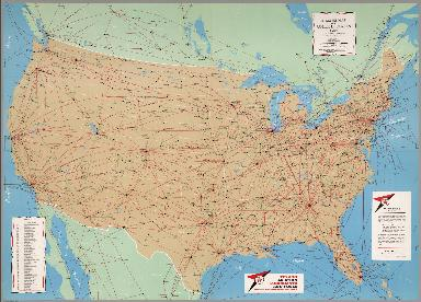 Airline Map of the United States, 1960.