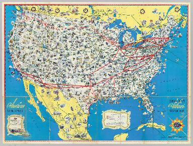 American Airlines system map.