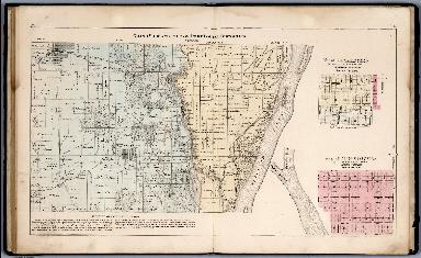 Grand View and Part of Port Louisa Townships. Map of Grandview. Map of Fredonia, Louisa County, Iowa.