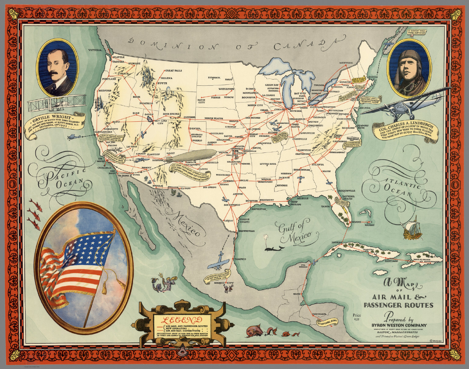 A Map of Air Mail & Passenger Routes in the United States.