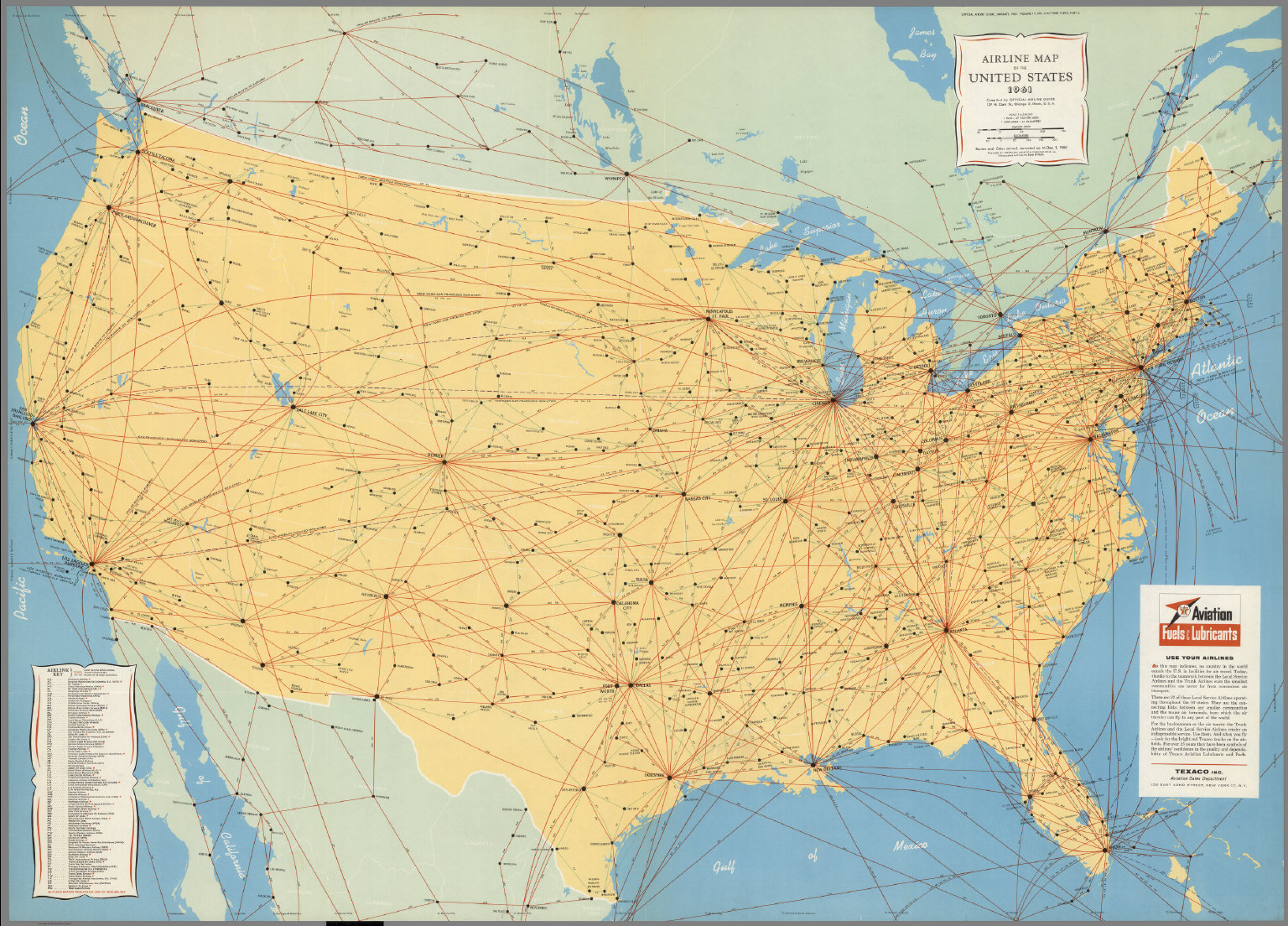 Airline Map of the United States 1961.