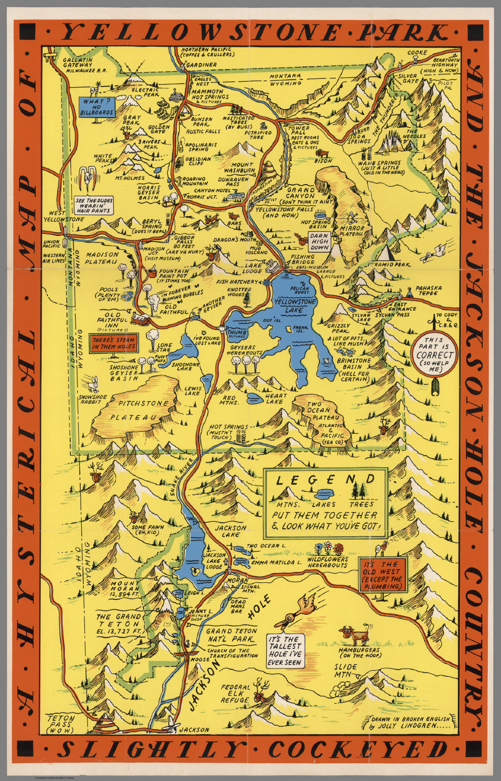 A Hysterical Map Of The Yellowstone Park And The Jackson Hole Country