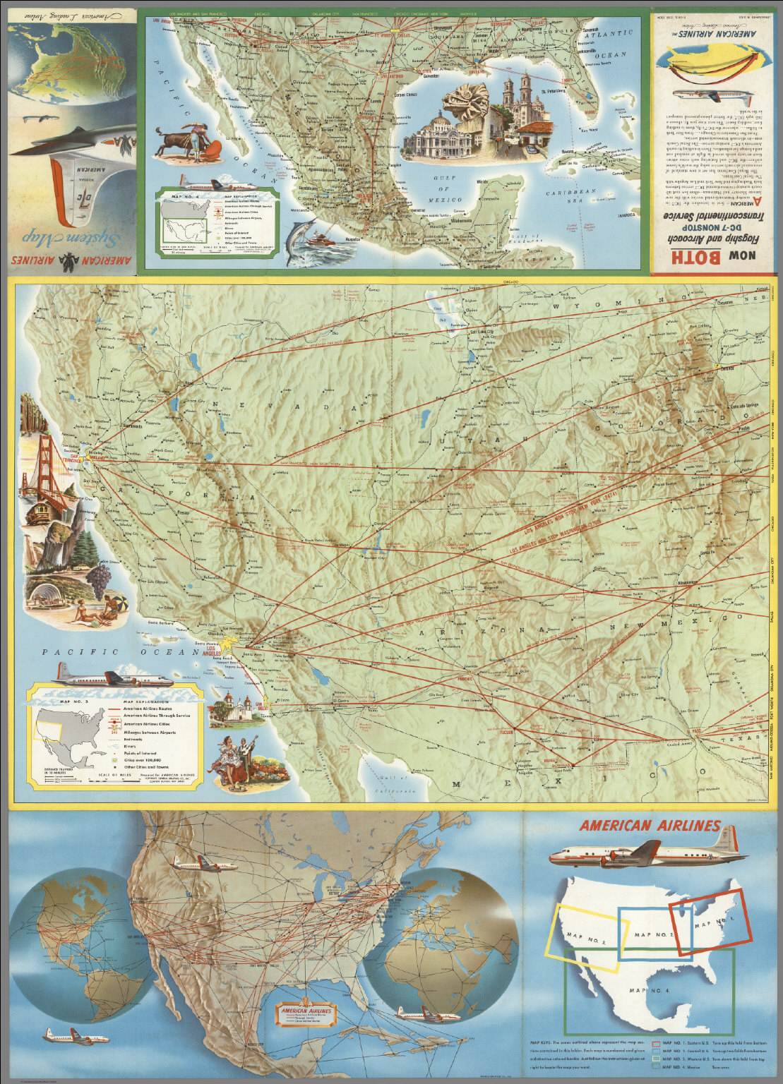American Airlines Map No.3 (Western U.S.), Map No.4 (Mexico), Key Map, Route Map.