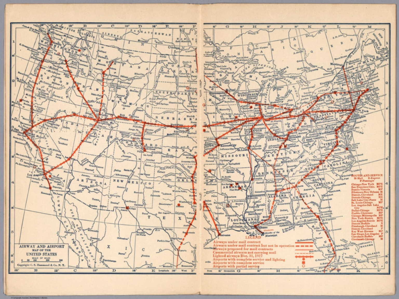 Airway and airport map of the United States