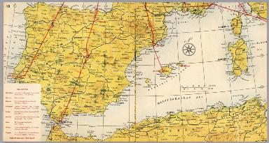 BEA route map : London to Gibraltar