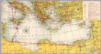 BEA route map : Rome to Middle East