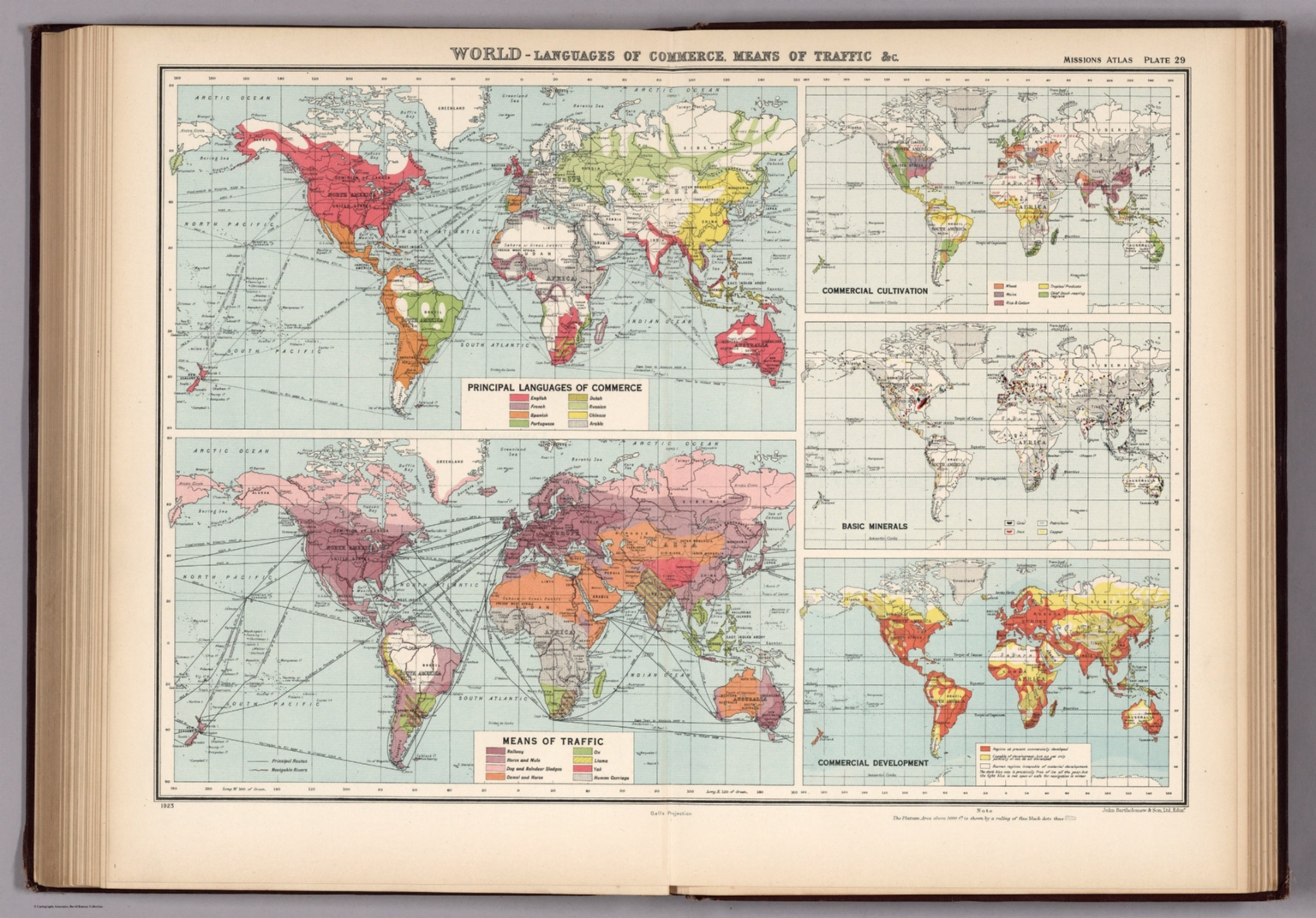 Plate 29. World - Languages of Commerce, Means of Traffic &c.