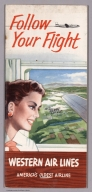 Covers: Follow Your Flight. Western Air Lines. America's Oldest Airline