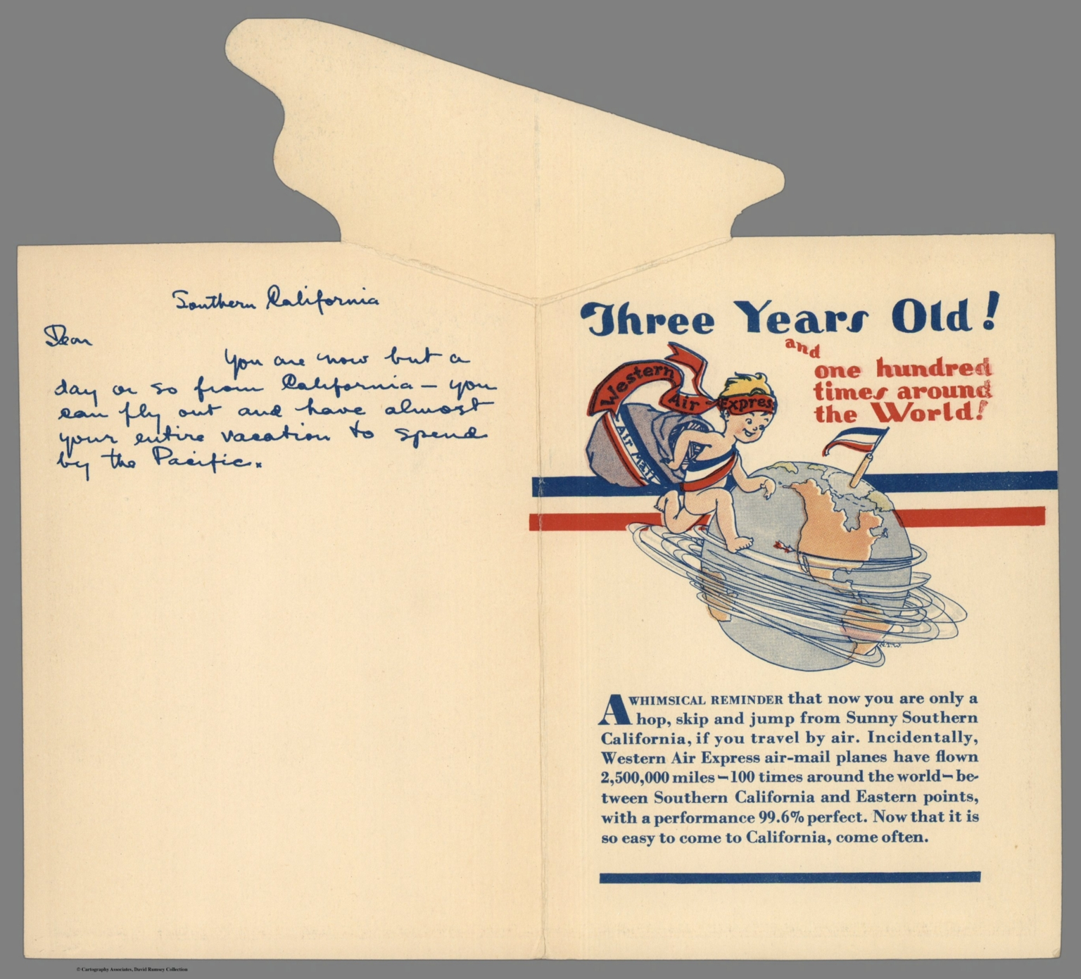 Covers: A cartograph commemorating Southern California's third air mail anniversary April 17, 1929
