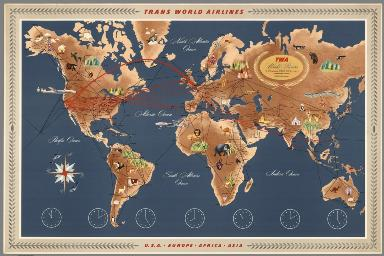 Trans World Airlines. TWA World Routes. U.S.A. • Europe • Africa • Asia.