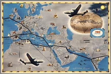 World: TWA Trans World Airline. U.S.A. Europe Africa Asia Air Routes