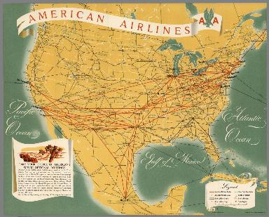 American Airlines (AA) North America Route Map.