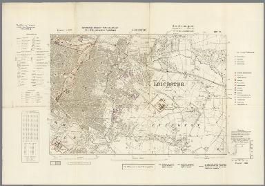 Street Map of Leicester, England with Military-Geographic Features. BB 17g.