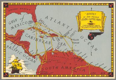 Routes of the famous flying Clipper ships