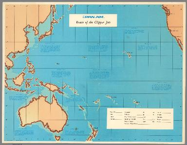 Pan Am. Route of the Clipper Jets