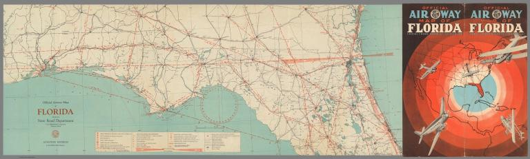 Covers: Official Air Way Map of Florida (Aerial Cross-Roads of the Americas). Official Airway Map of Florida (northern portion).