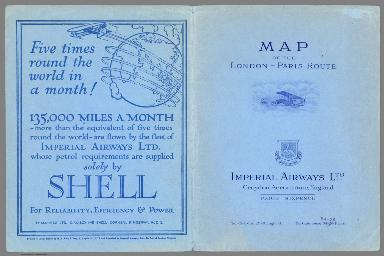 Covers: Map of the London - Paris route. Imperial airways Ltd.