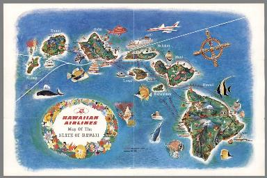 Hawaiian Airlines Map of the State of Hawaii.