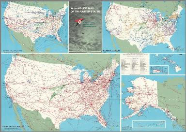 1966 Airline Maps of the United States. Texaco.