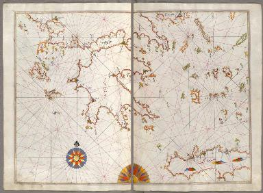 fol. 129b and 130a Cyclades islands and islands of Zakynthos, Kefalonia, and Lefkada in the Ionian Sea