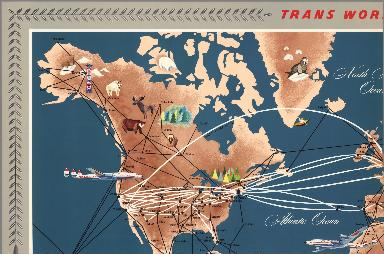 (Sheet 1) Trans World Airlines. TWA World Routes. U.S.A. • Europe • Africa • Asia.