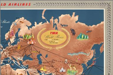 (Sheet 2) Trans World Airlines. TWA World Routes. U.S.A. • Europe • Africa • Asia.