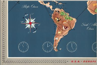 (Sheet 3) Trans World Airlines. TWA World Routes. U.S.A. • Europe • Africa • Asia.
