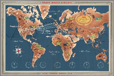 (Composite 1-4) Trans World Airlines. TWA World Routes. U.S.A. • Europe • Africa • Asia.