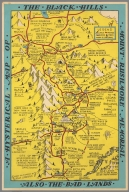 A histerical map of Black Hills, Mount Rushmore Memorial. Also the Bad Lands