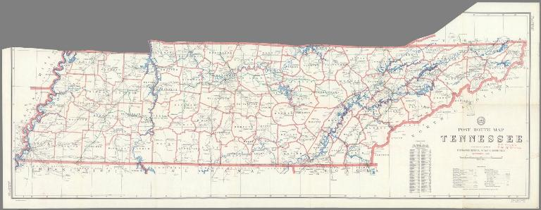 Post Route Map of the State of Tennessee Showing Post Offices ... September 1, 1960.