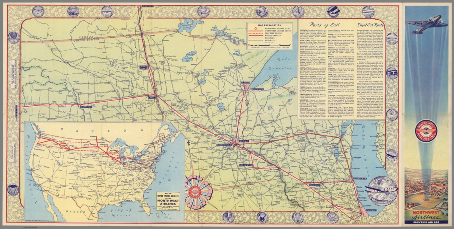 Side 1: Northwest Airlines route map of the Middle West