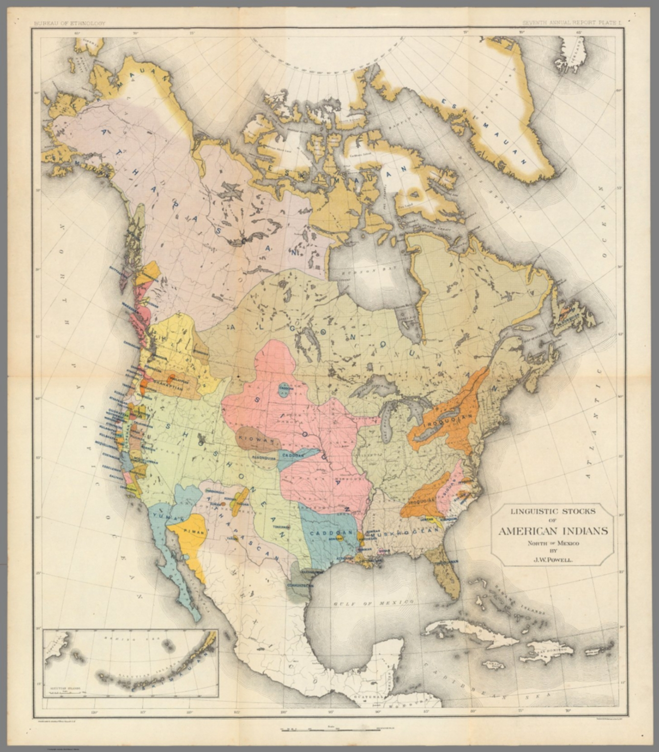 Linguistic Stocks of American Indians North of Mexico By J.W. Powell.