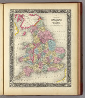 County Map Of England, And Wales.