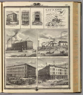 Businesses, coal mine, and plow advertisement, Des Moines and Oskaloosa, Iowa.