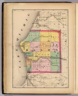 Map of Mason County, Michigan. Drawn, compiled, and edited by H.F. Walling, C.E. ... Published by R.M. & S.T. Tackabury, Detroit, Mich. Entered ... 1873, by H.F. Walling ... Washington. The Claremont Manufacturing Company, Claremont, N.H., Book Manufacturers, Atlas of the State of Michigan, including statistics and descriptions of its topography, hydrology, climate, natural and civil history, railways, educational institutions, material resources, etc. By Alexander Winchell, LL.D. ... Hon. C.I. Walker, Oramel Hosford, Esq., Henry M. Utley, Esq., and Ray Haddock, Esq. Drawn, compiled, and edited by H.F. Walling, C.E. ... Published by R.M. & S.T. Tackabury, Detroit, Mich. (on verso) Entered ... 1873, by H.F. Walling ... Washington. The Claremont Manufacturing Company, Claremont, N.H., Book Manufacturers., Map of Mason County, Michigan