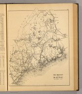 Railroad map of Maine. (1894), Stuart's atlas of the state of Maine. Including statistics and descriptions of its history, educational system, geology, rail roads, natural resources, summer resorts and manufacturing interests, compiled and drawn from official plans and actual surveys and published by J.H. Stuart & Co. South Paris, Maine. 9th edition. Copyright secured by J.H. Stuart, 1890. Eng. by Balliet & Volk, 27 So. Sixth St., Phila., Pa. Printed by F. Bourquin, 31 So. Sixth St., Phila. (1894), Railroad map of Maine.