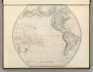 Western Hemisphere. The World in Equal Quarters - Sharpe's Projection. Engraved by J. Wilson Lowry. Pub. by Chapman and Hall, 1847., Sharpe's Corresponding Atlas, Comprising Fifty-Four Maps, Constructed Upon A System Of Scale And Proportion, From the most Recent Authorities. Engraved On Steel By Joseph Wilson Lowry. With A Copious Consulting Index. London: Chapman And Hall, 186 Strand. MDCCCXLIX., Western Hemisphere.