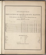 Statistical Table: Statistics of the Population of Adams County, Illinois.