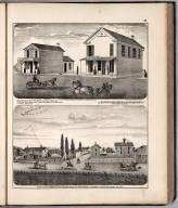 View: Businesses of F. Harris. Residence of A.B. Vining, Adams County, Illinois.