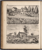 View: Residences of E.S. Nichols, George W. Cormeny, Adams County, Illinois.